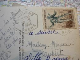 Cachet Hexagonal Caussens 20/08/1954 Sur CP Condom - Cachets Manuels