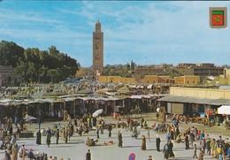 MAROC---MARRAKECH---place Djemaa El Fna Y La Koutoubia--( La Mosquée De La Koutoubia )--voir 2 Scans - Marrakech