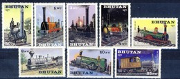 +B1408. Bhutan 1984. Trains. Steam Engines. Michel 852-59. MNH(**) - Bhutan