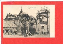 CAMBODGE Cpa Animée Elephants Du Roi         24 - Cambodia