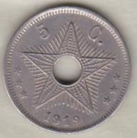 CONGO BELGE , 5 CENTIMES 1919 , ALBERT I - Congo (Belgian) & Ruanda-Urundi