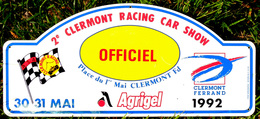 Plaque 2° Clermont Racing Car Show 1992 OFFICIEL ASA Clermont-Racing Agrigel - Rallye (Rally) Plates