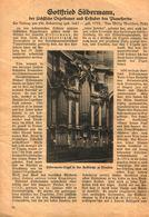 Gottfried Silbermann, Der Sächsische Orgelbauer Und Erfinder Des Pianofortes / Artikel, Entnommen Aus Kalender / 1933 - Books, Magazines, Comics