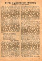 Goethe In Zinnwald Und Altenberg / Artikel, Entnommen Aus Kalender / 1933 - Books, Magazines, Comics