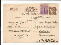 Entier Iris Interzone + Timbre De 3 Cents USA + Griffe Inadmis 1941 - Entiers Postaux