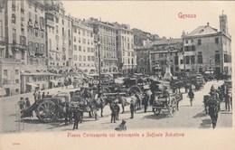 GENOVA-PIAZZA CARICAMENTO CON MONUMENTO A RAFFAELE RUBATTINO-ANIMATISSIMA-CARTOLINA ANNO 1906-1910 - Genova