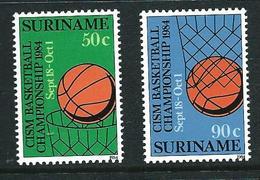 SURINAME MNH - 1984 International Military Sports Council Basketball Championship - Vari Cent - Michel SR 1098 1099 - Suriname