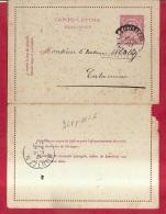 BR-8659  PW  1896  KAARTBRIEF   VERVIERS STATION   STATIONSNAAMSTEMPEL BLEYBERG  Naar  CALAMINNE  Aankomstst MONTZEN - 1884-1891 Leopold II.