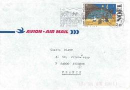 ST PIERRE ET MIQUELON - 30-3-1993 - LETTRE POUR LA FRANCE AVEC TIMBRE DE NOEL. - St.Pierre Et Miquelon