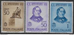 Italia Italy 1942 Regno Gioacchino Rossini 3val Sa N.467-469 Nuovi MH * - Nuovi