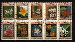 KUBA - Zusammendruck Blumen Gestempelt Aus 1983 - Blocks & Kleinbögen