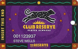 Reserve Casino - Henderson, NV - Slot Card - No Text Over Mag Stripe - Casino Cards