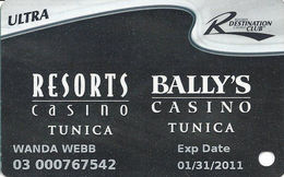 Resorts & Bally's Casinos - Tunica, MS - Slot Card - 5 Logos On Reverse - Casino Cards