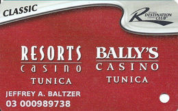 Resorts & Bally's Casinos - Tunica, MS - Slot Card - 2 Logos On Reverse TYPE 1 Text On Reverse - Casino Cards