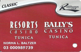 Resorts & Bally's Casinos - Tunica, MS - Slot Card - 2 Logos On Reverse TYPE 2 Text On Reverse - Casino Cards