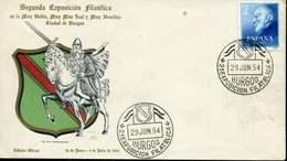 """SPAIN 1954 BURGOS COVER """"SEGUNDA EXPOSÍCION FILATÉLICA"""" - 1951-60 Cartas"""