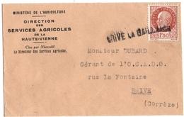 BRIVE-la-GAILLARDE (19) GRIFFE LINEAIRE Sur PETAIN 1f50 SEUL. MIGNONNETTE. - Cachets Manuels