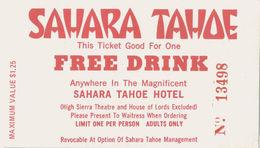 Sahara Tahoe Casino - Lake Tahoe, NV - Free Drink Coupon - Casino Cards