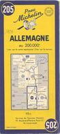CARTE-ROUTIERE-MICHELIN-1954-N°205-ALLEMAGNE-PAS DECHIREE-TBE - Cartes Routières