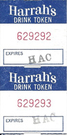 Harrah's Reno - Reno, NV - Attached Pair Of Free Drink Tokens/Coupons (1.5 X 3 Inches) - Casino Cards