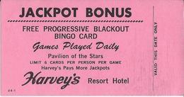 Harvey's Casino - Reno, NV - Free Progressive Blackout Bingo Card Coupon / Blank Reverse - Casino Cards