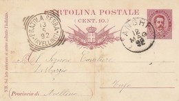 Angri. 1892. Annullo Grande Cerchio ANGRI + Tondo Riquadrato PRATOLA SERRA (AVELLINO), Su Cartolina Postale Con Testo - 1878-00 Umberto I