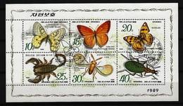 KOREA Mi-Nr. Kleinbogen 3010 - 3015 Insekten Und Spinnentiere Gestempelt - Papillons
