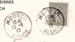 Cachet Moosch Alsace Sur Lettre Filature De Laine Peignée - Marcofilia (sobres)