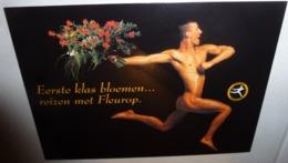 Carte Postale - Fleurop Interflora Nederland (homme Nu Portant Des Fleurs) - Werbepostkarten