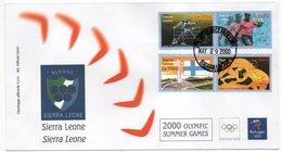SIERRA LEONE - OLYMPIC GAMES 2000 FDC / ATHLETICS-SOCCER - STADIUM-WRESTLING - Sierra Leone (1961-...)