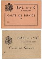 MILITARA. BAL De L'X. CARTE De SERVICE. 1934. 1936. - Biglietti D'ingresso