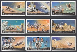 AJMAN, MICHEL Cat.# 1254-1262 B,  APOLLO 15, FUTURE PROJECTS, IMPERF ISSUE. - Space