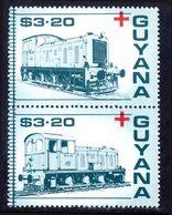 Guyana 1988 Red Cross Trains $3.20 Pair Unmounted Mint. - Guyane (1966-...)