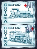 Guyana 1988 Red Cross Trains $3.20 Pair With Unlisted AIR Handstamp Unmounted Mint. - Guyana (1966-...)