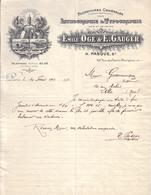 PARIS - MALAKOFF - FOURNITURES LITHOGRAPHIE TYPOGRAPHIE - EMILE OGE & E. GAUGER , H. PASQUE SR - LETTRE + MANDAT - 1928 - Imprimerie & Papeterie