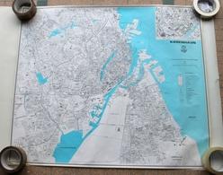 RARE ANCIEN PLAN - COPENHAGUE DANEMARK - CARTOGRAPHIE CARTE GEOGRAPHIQUE 81x70cm - Disegno Tecnico