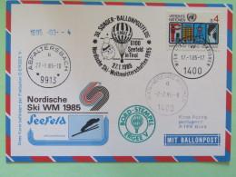 United Nations (Wien) 1985 Special Cancel On Balloon Card To Wien - Abfaltersbach - Ski - Wenen - Kantoor Van De Verenigde Naties