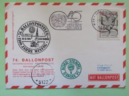 United Nations (Wien) 1985 Special Cancel On Balloon Card To Wien - Dove (recut From Stationery) - Mining - 40 Anniv. U. - Wenen - Kantoor Van De Verenigde Naties