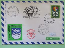 United Nations (Wien) 1985 Special Cancel On Balloon Cover - Flower (stamp Recut From Stationery) - Lion Mining - Brauna - Wenen - Kantoor Van De Verenigde Naties
