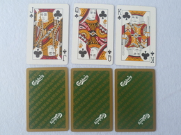 VINTAGE ! 3 Pcs. Carlsberg Beer Green Playing Card - King Queen Jack Of Clubs (#119) - Cartes à Jouer Classiques
