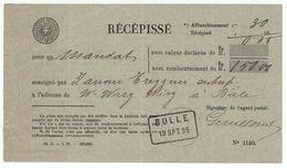 Suisse // Schweiz // Switzerland  // Entier Postaux // Récépissé Bulle 13.09.1895 - Ganzsachen