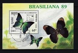 KAMBODSCHA - Mi-Nr. Block 170 Briefmarkenausstellung BRASILIANA '89, Rio De Janeiro: Schmetterlinge Gestempelt - Schmetterlinge
