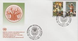 ONU  VIENNE 1993 Vieillir  N°  157 / 58 Oblitéré Sur Lettre 1° Jour - Centre International De Vienne