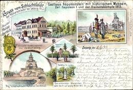 Lithographie Leipzig In Sachsen, Gruß Vom Schlachtfelde, Bes. Philipp Bertsch, Völkerschlacht 1813 - Unclassified