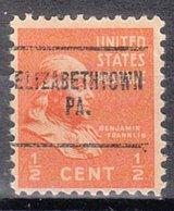 USA Precancel Vorausentwertung Preo, Locals Pennsylvania, Elizabethtown 704 - Vereinigte Staaten