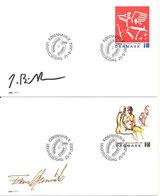 Denmark FDC 25-9-2002 Art On Stamps Jens Birkemose & Frans Kannik Complete On 2 Covers - FDC