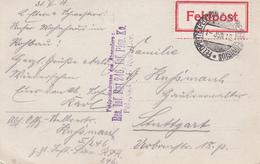 Res Inf Rgt 246, Inf Pion Ko / Feldpost 54. Res Div + TàD FELDPOSTEXPEDITION D. 54 RESERVE DIVISION Du 1 JUN 16 Pour Stu - Marcophilie (Lettres)