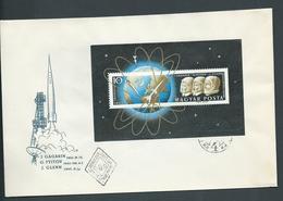 Hungary 1961 Space Flights Gargarin & Glenn Miniature Sheet On FDC Fine Unadressed - Hungary