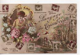CPA.Fantaisie.Langage Des Timbres.femme Portrait En Médaillon - Fantaisies