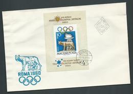 Hungary 1960 Summer & Winter Olympics Miniature Sheet On FDC Fine Unaddressed - Hungary